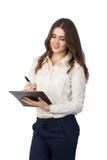 Ung kvinna med clipboarden Arkivbilder