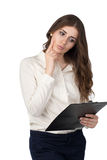 Ung kvinna med clipboarden Royaltyfri Foto