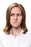 Ung kvinna med den mycket ilskna framsidan Royaltyfria Foton