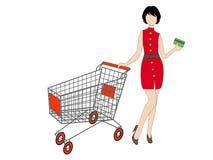 Ung kvinna med den shoppa vagnen och en kreditkort royaltyfri illustrationer