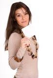 Ung kvinna med det blanka meddelandet Royaltyfri Foto
