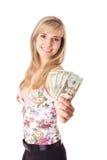 Ung kvinna med dollar royaltyfri foto