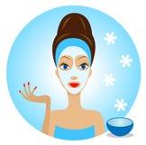 Ung kvinna med en kosmetisk maskering på framsida royaltyfri illustrationer
