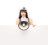 Ung kvinna med en megafon som isoleras på vit Royaltyfria Bilder