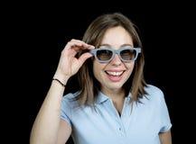 Ung kvinna med ett par av exponeringsglas 3d Royaltyfri Fotografi