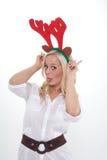 Ung kvinna med horns Arkivfoton