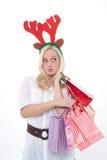 Ung kvinna med horns Arkivfoto