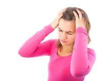 Ung kvinna med huvudvärk Royaltyfria Bilder