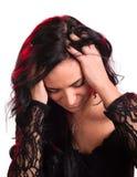 Ung kvinna med huvudvärk Royaltyfri Fotografi