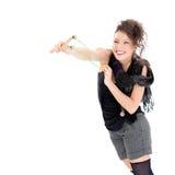 Ung kvinna med katapulten Royaltyfri Foto