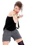 Ung kvinna med katapulten Fotografering för Bildbyråer