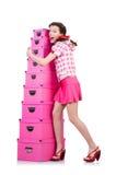 Ung kvinna med lagringsaskar Royaltyfria Foton