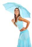 Ung kvinna med paraplyet Royaltyfria Foton