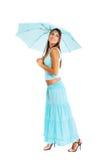Ung kvinna med paraplyet Fotografering för Bildbyråer