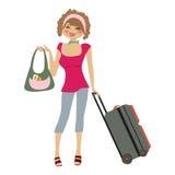 Ung kvinna med resväskan Arkivbilder