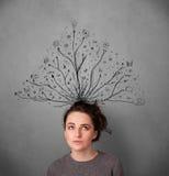 Ung kvinna med tilltrasslade linjer som kommer ut ur hennes huvud Arkivbild