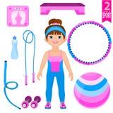 Ung kvinna med uppsättningen av sportutrustning. stock illustrationer