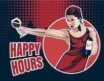 Ung kvinna med vinexponeringsglas och vinflaskan Smsa den lyckliga timmen, stad på bakgrunden Vektormaterielbild Royaltyfri Fotografi
