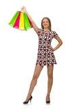 Ung kvinna, når att ha shoppat Royaltyfri Fotografi