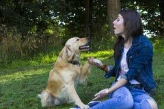 Ung kvinna och hund i skog Royaltyfri Bild