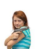 Ung kvinna och tryckspruta Arkivfoto
