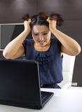 Ung kvinna på internet Royaltyfria Bilder