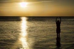Ung kvinna på solnedgången Royaltyfri Fotografi