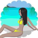 Ung kvinna på strand Fotografering för Bildbyråer