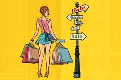 Ung kvinna på tecknet för försäljningar vektor illustrationer