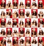 Ung kvinna, sinnesrörelser, framsida, collage, slut upp, röd och vit bakgrund royaltyfri fotografi