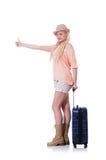 Ung kvinna som är klar för sommarsemester Arkivfoto