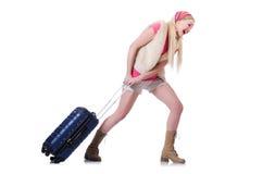 Ung kvinna som är klar för sommarsemester Arkivbild