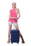 Ung kvinna som är klar för sommarsemester Arkivfoton