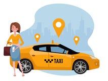 Ung kvinna som beställer taxien på mobiltelefonen Hyra en bil genom att använda den mobila appen Online-taxiappbegrepp Gul bil på royaltyfri illustrationer