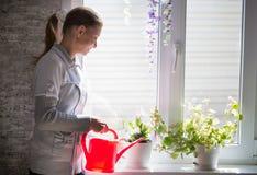 Ung kvinna som bevattnar inomhus blommor royaltyfri bild