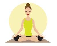 Ung kvinna som gör yoga i Lotus Position arkivbild