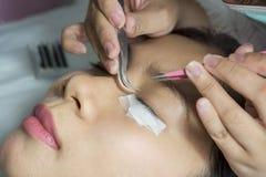 Ung kvinna som genomgår ögonfransförlängningar arkivfoton