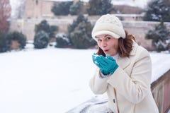 Ung kvinna som har gyckel med snö på vinterdag Arkivbild