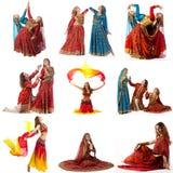 ung kvinna som isoleras på vit Collage av dansare i utsmyckade dräkter Arkivfoto