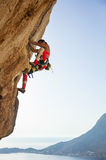 Ung kvinna som kämpar för att klättra den utmanande rutten Royaltyfri Bild