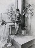Ung kvinna som läser en bok Arkivbild