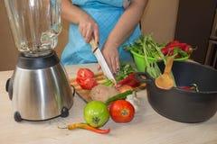Ung kvinna som lagar mat sunt mål i köket Laga mat hemmastadd sund mat kök som förbereder grönsakkvinnan Kocken klipper th Royaltyfri Bild