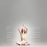 Ung kvinna som mediterar i en lotusblommaposition Arkivfoton