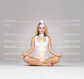Ung kvinna som mediterar i en lotusblommaposition Fotografering för Bildbyråer
