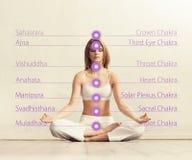 Ung kvinna som mediterar i en lotusblommaposition Arkivbilder