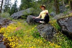 Ung kvinna som mediterar i natur royaltyfri bild