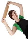 Ung kvinna som rymmer en rulle Arkivbild