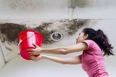 Ung kvinna som samlar droppregnvatten Royaltyfri Fotografi
