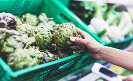 Ung kvinna som shoppar sund mat i supermarketsuddighetsbakgrund Kvinnliga händer köper produktkronärtskockan genom att använda sm arkivfoton