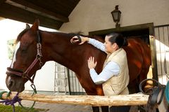 Ung kvinna som smeker hästen Arkivbild